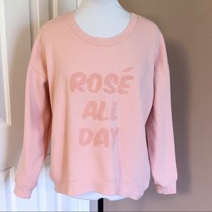 "Green Tea ""Rose All Day"" Embroidered Sweatshirt"